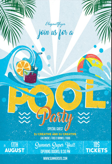 Pool Party Flyer Psd Template  By Elegantflyer