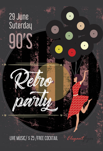 Retro Hits of the 90s – Flyer PSD Template