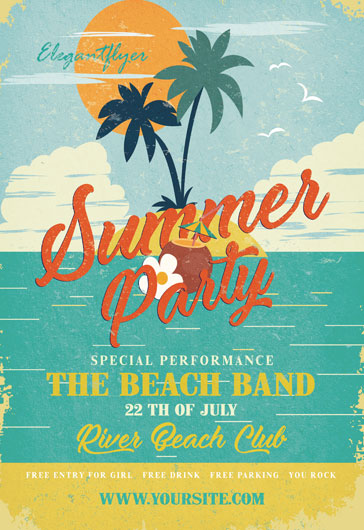 summer party free flyer psd template by elegantflyer