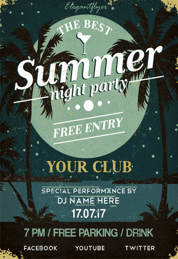 Summer Night Party- Flyer PSD Template