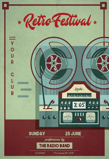 Retro Festival – Flyer PSD Template