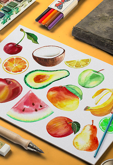 Watercolor Fruit – Premium Stock Illustration