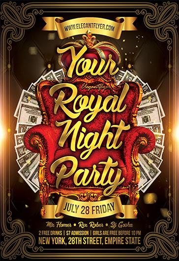 Your Royal Night Party – Flyer PSD Template