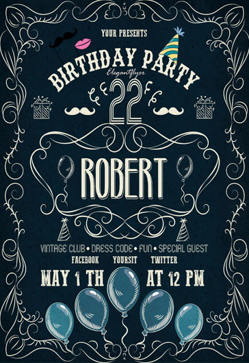 Flyer Template for Tea Party Birthday Cake