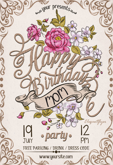 Happy Birthday Mom – Flyer PSD Template