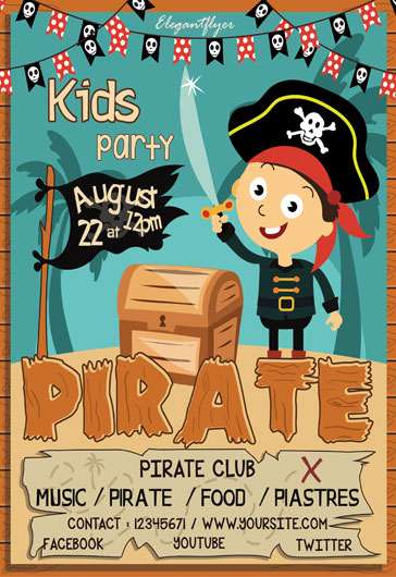 Kids Pirate Party- Flyer PSD Template
