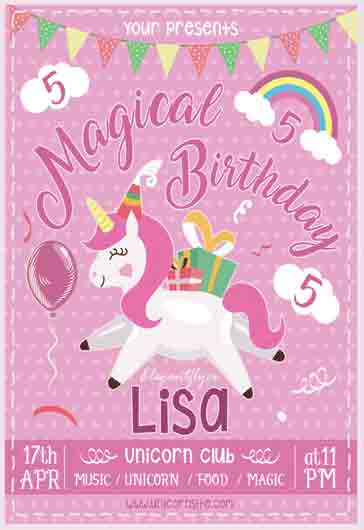 Magical Birthday – Flyer PSD Template