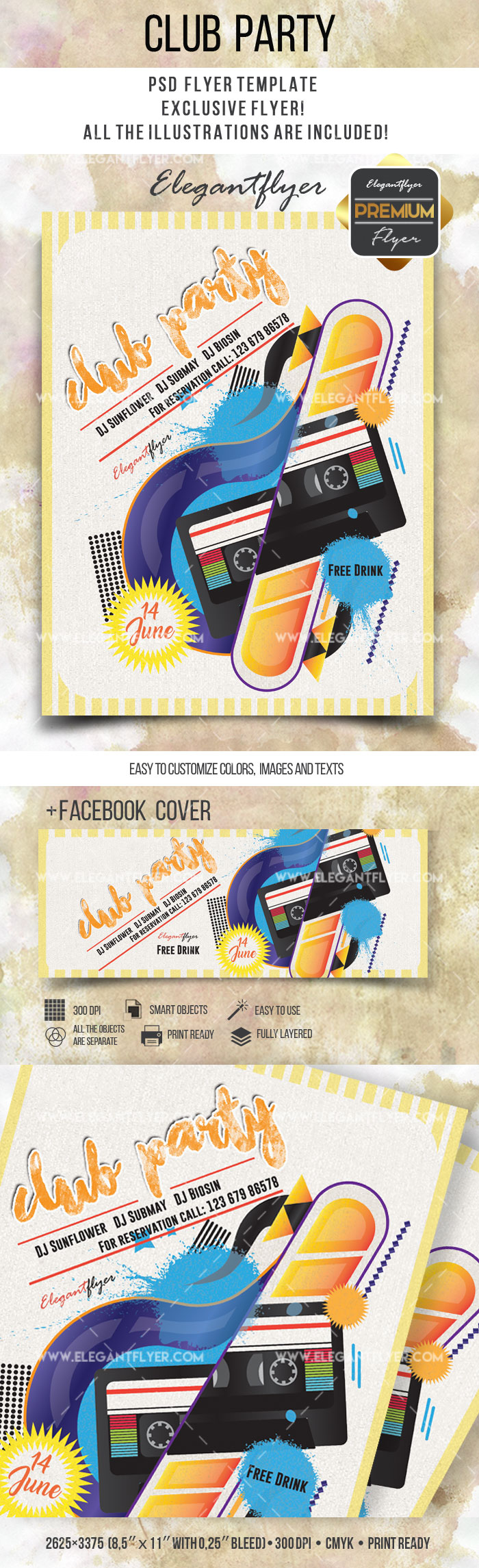 Flyer Template for Club Party Invitation