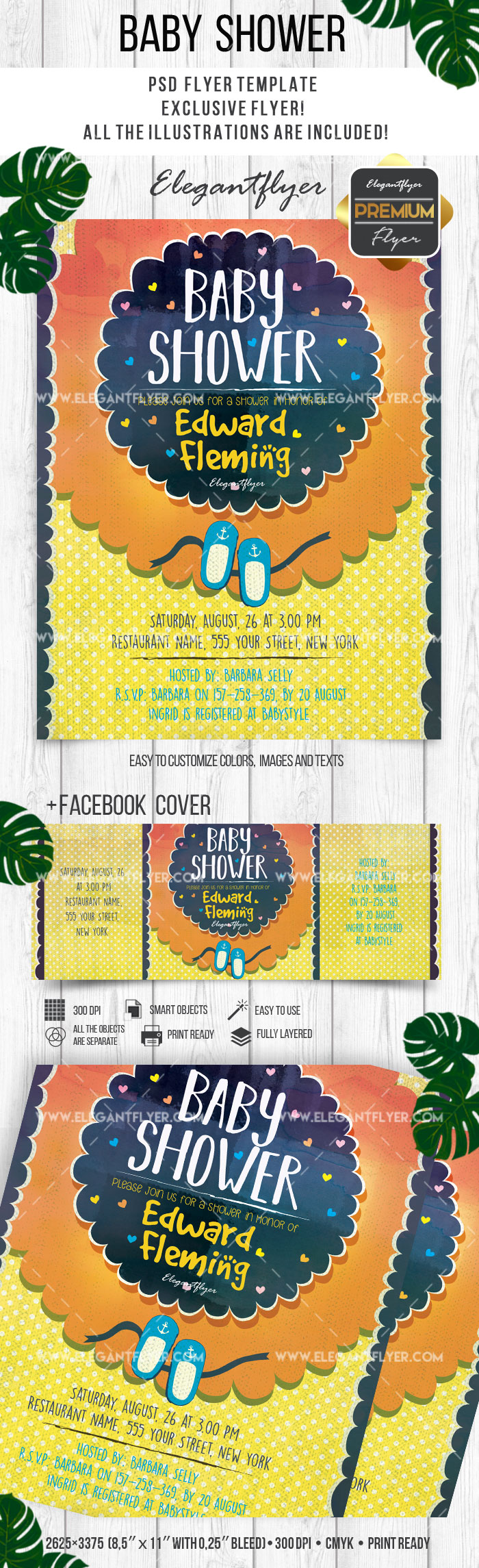 Baby Shower – Flyer PSD Template + Facebook Cover