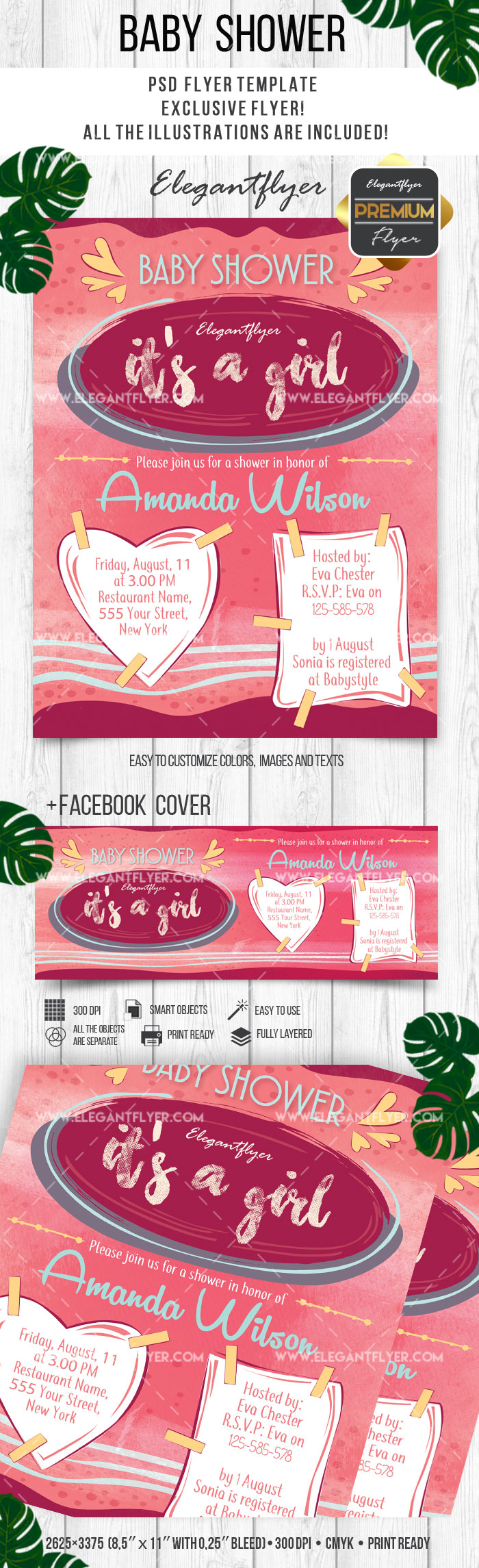 Baby Shower Invitations for Girls PSD Flyer