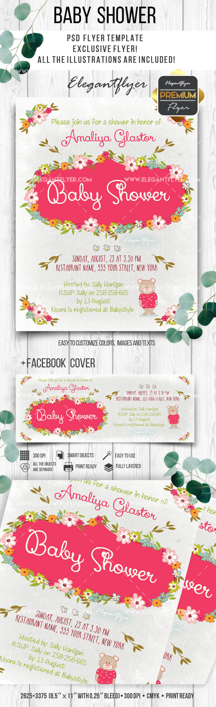 Baby Shower Flower Bouquet Template