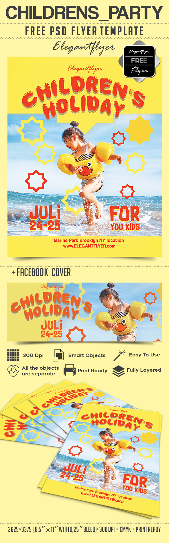 Children's party – Free Flyer PSD Template