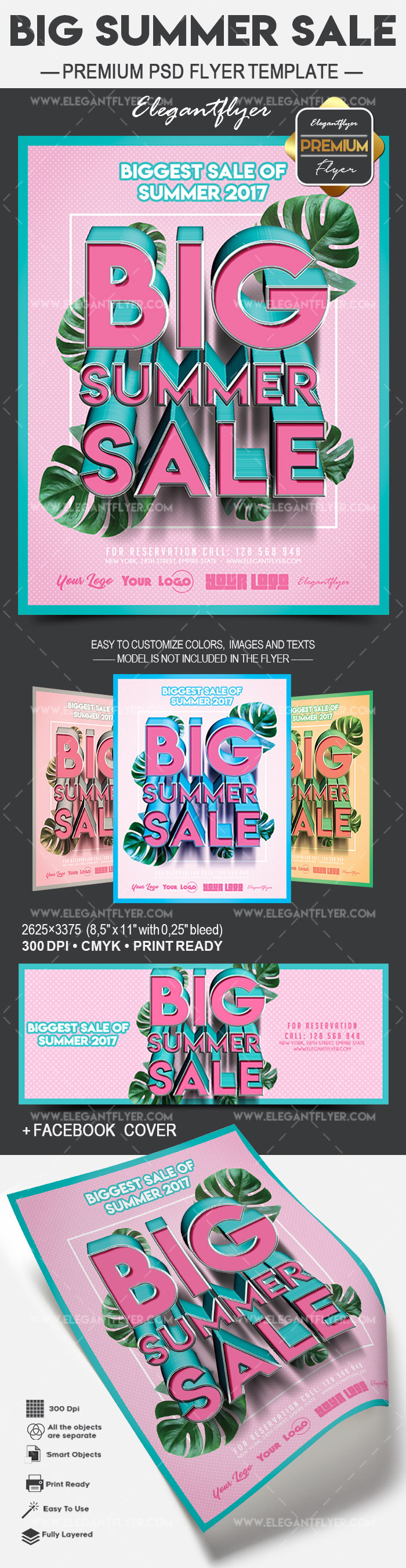 Big Summer Sale – Flyer PSD Template + Facebook Cover