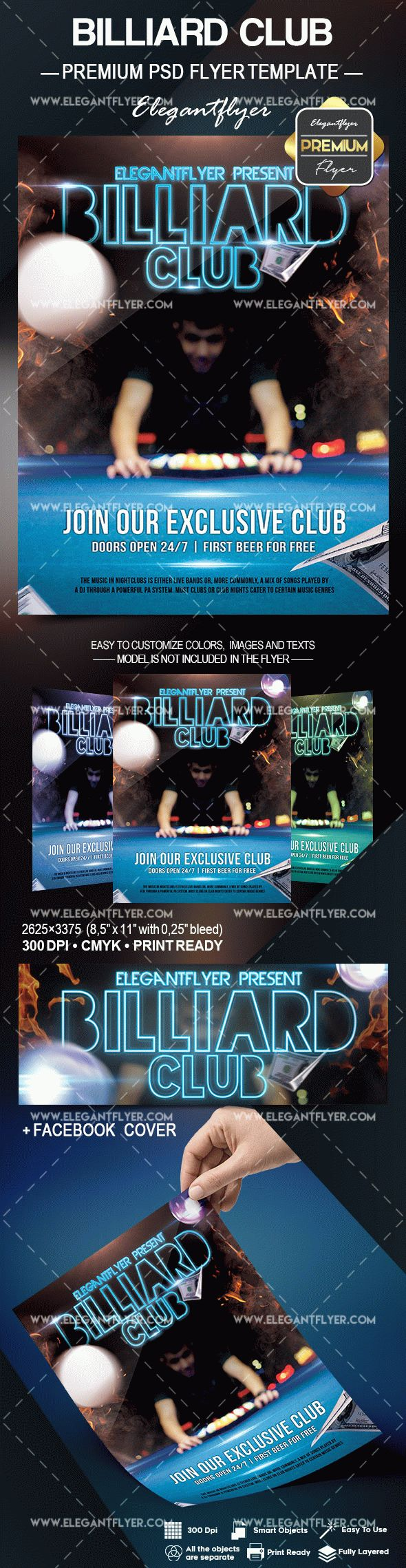 Billiard Club – Flyer PSD Template