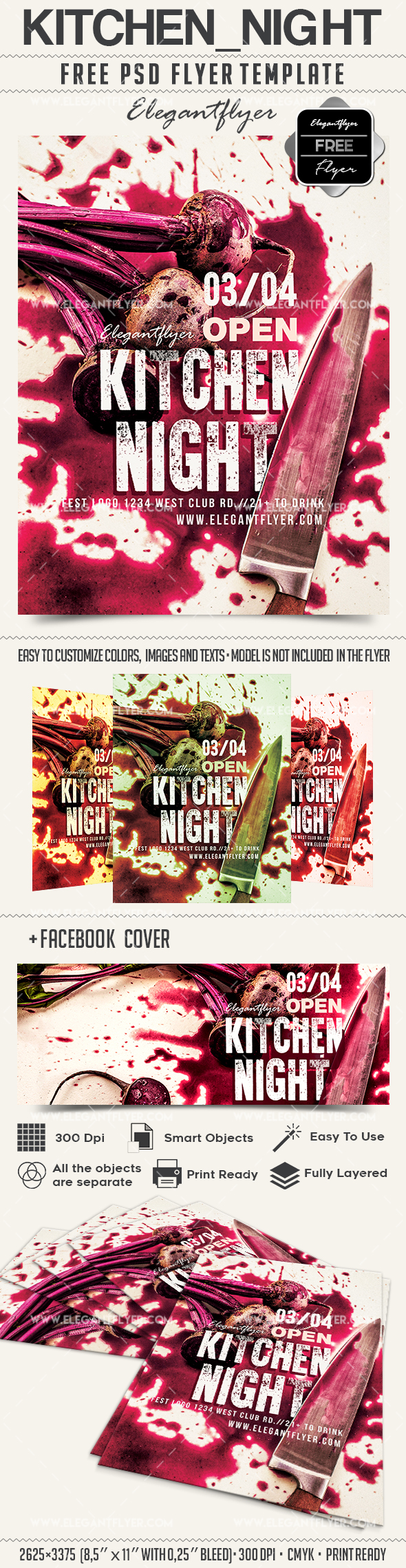 Kitchen night – Free Flyer PSD Template