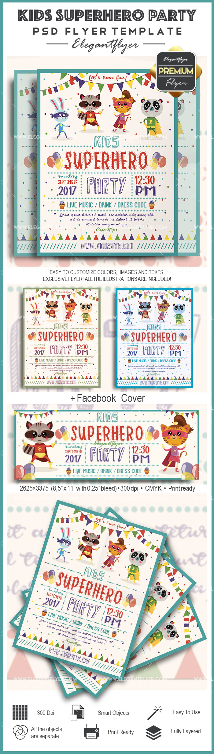 Kids Superhero Party – Flyer PSD Template + Facebook Cover