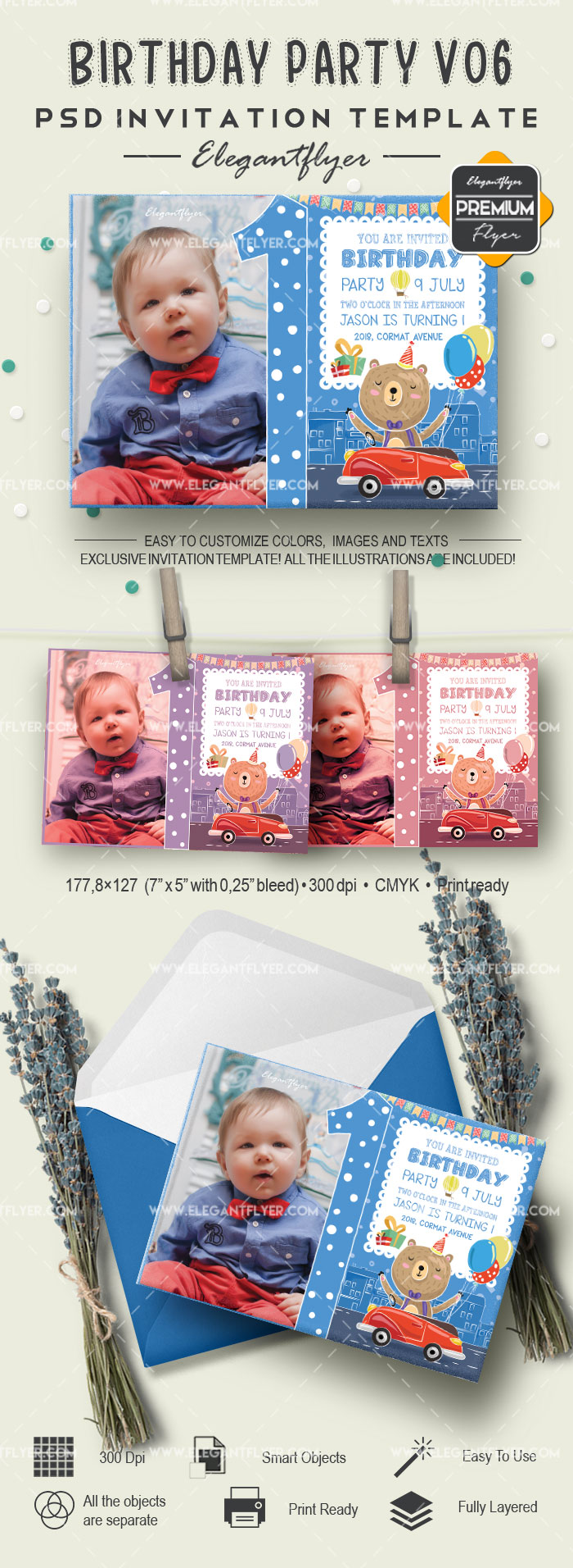 Birthday Party v06 – Invitation PSD Template