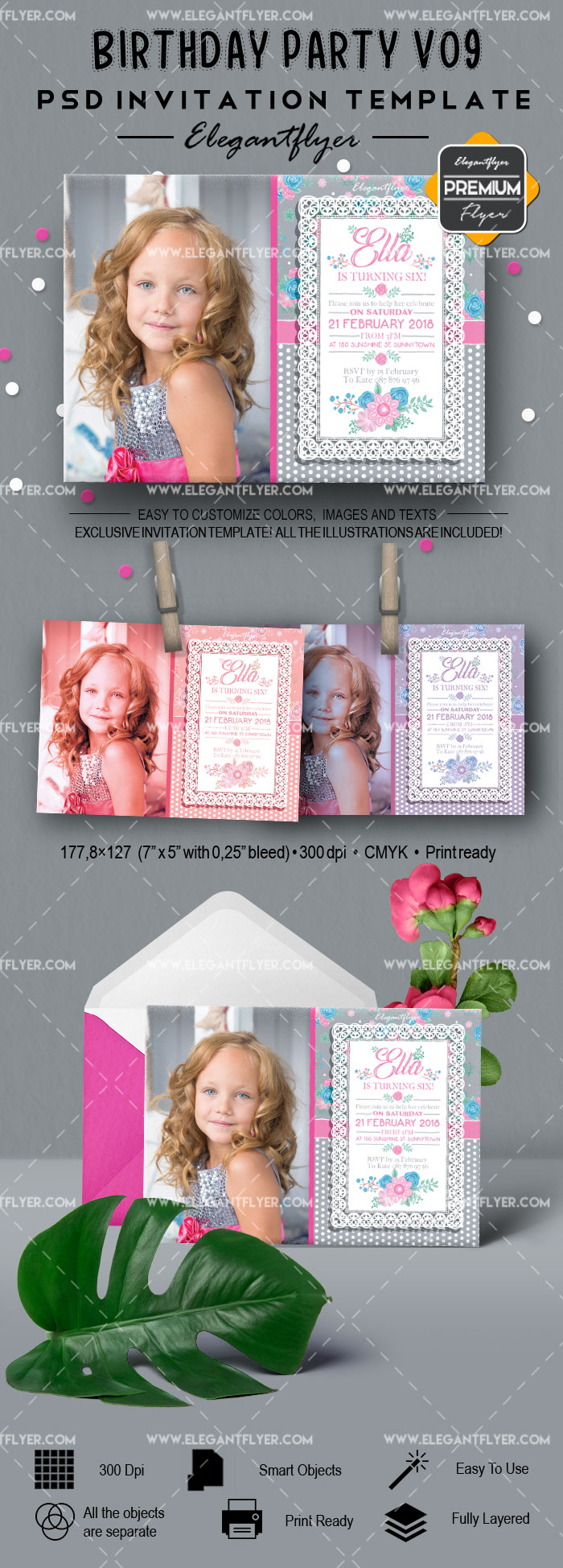 Birthday Party v09 – Invitation PSD Template