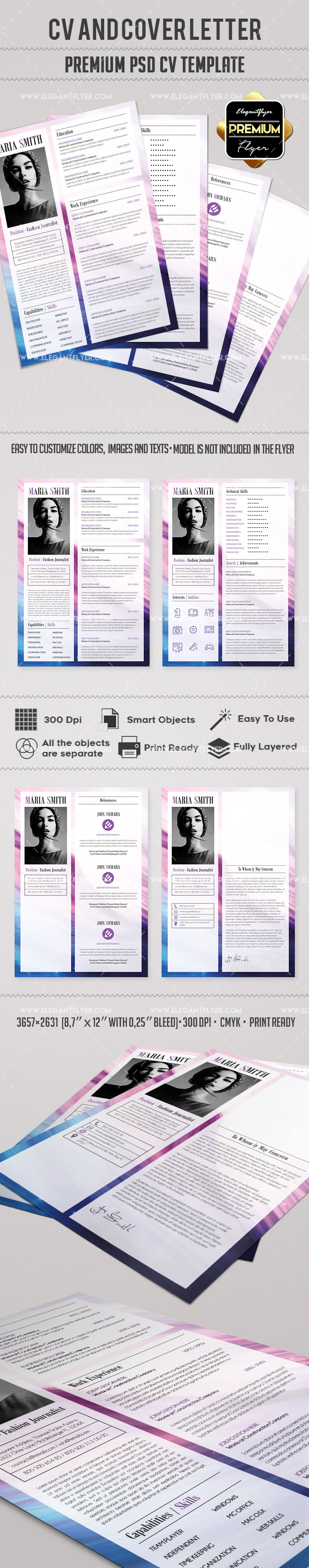 Professional PSD Resume Template + CV and Cover Letter