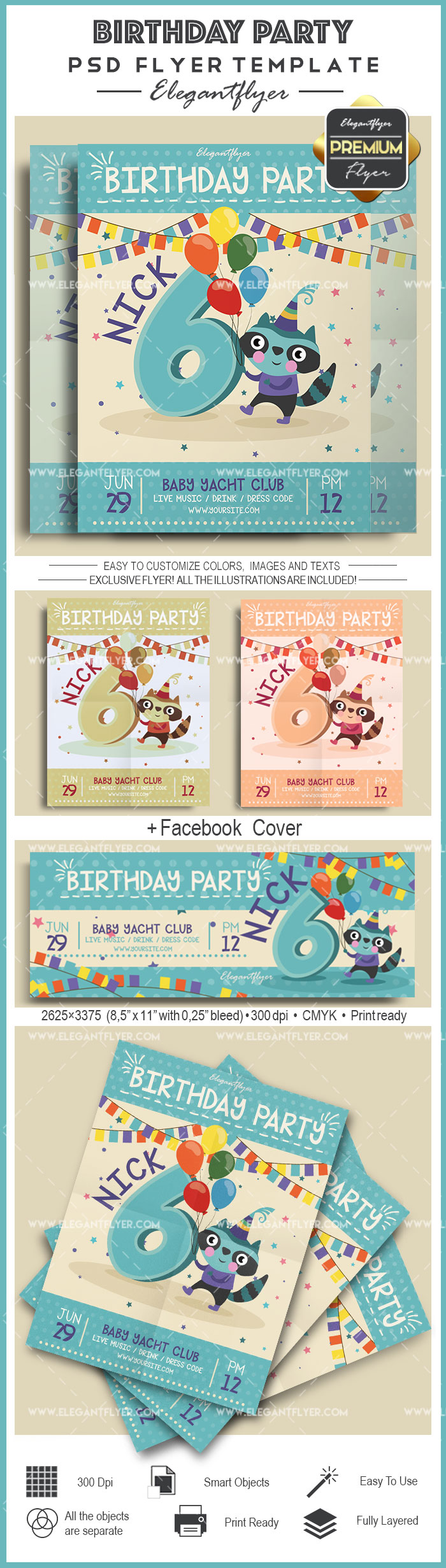 Raccoon in Birthday Party Template