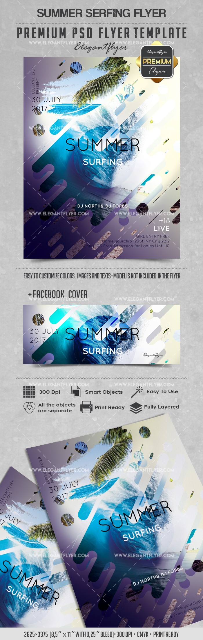 Hot Summer Surfing PSD Poster