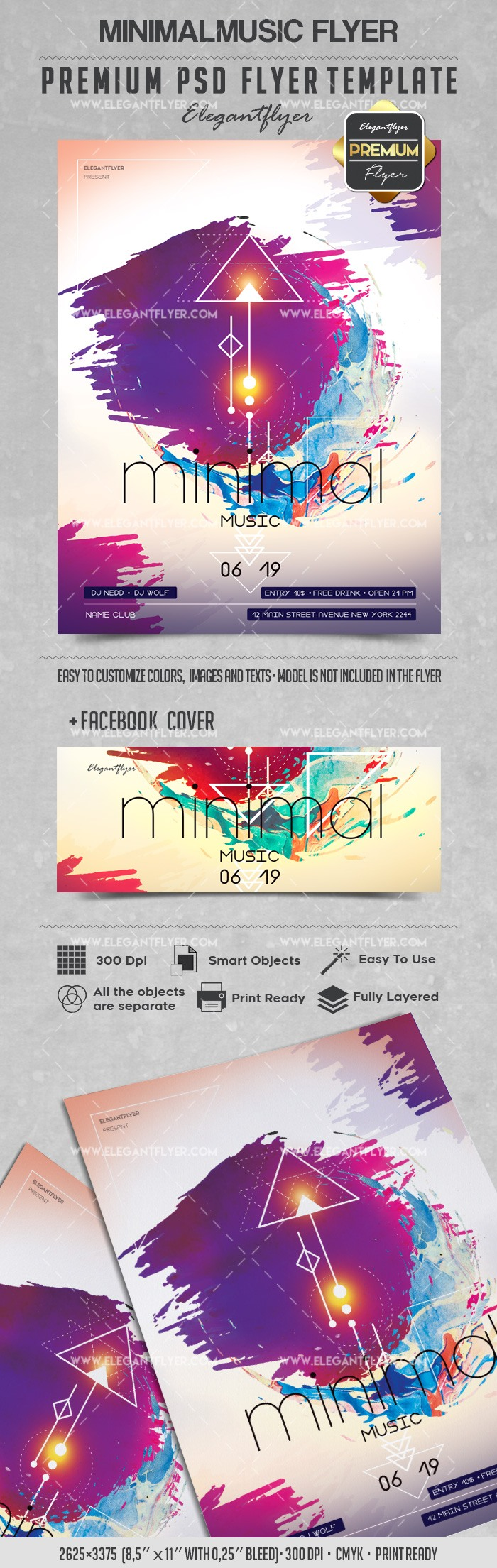 Minimal Music – Flyer PSD Template + Facebook Cover