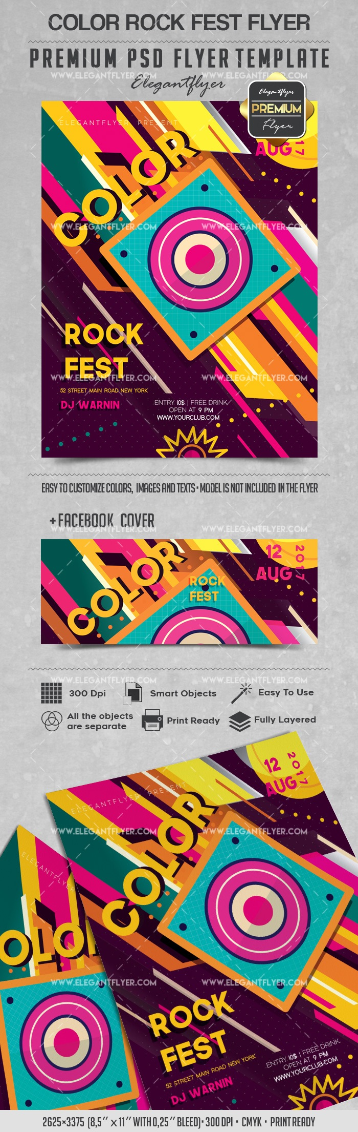 Сolor Rock Fest – Flyer PSD Template