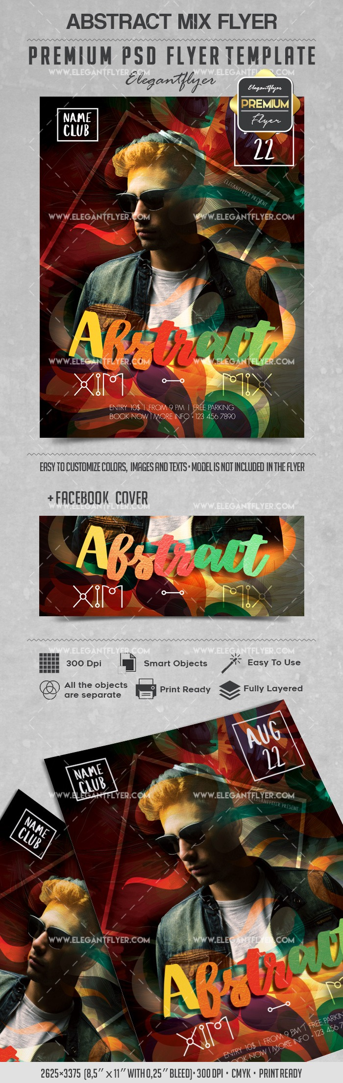 Abstract Mix – Flyer PSD Template + Facebook Cover