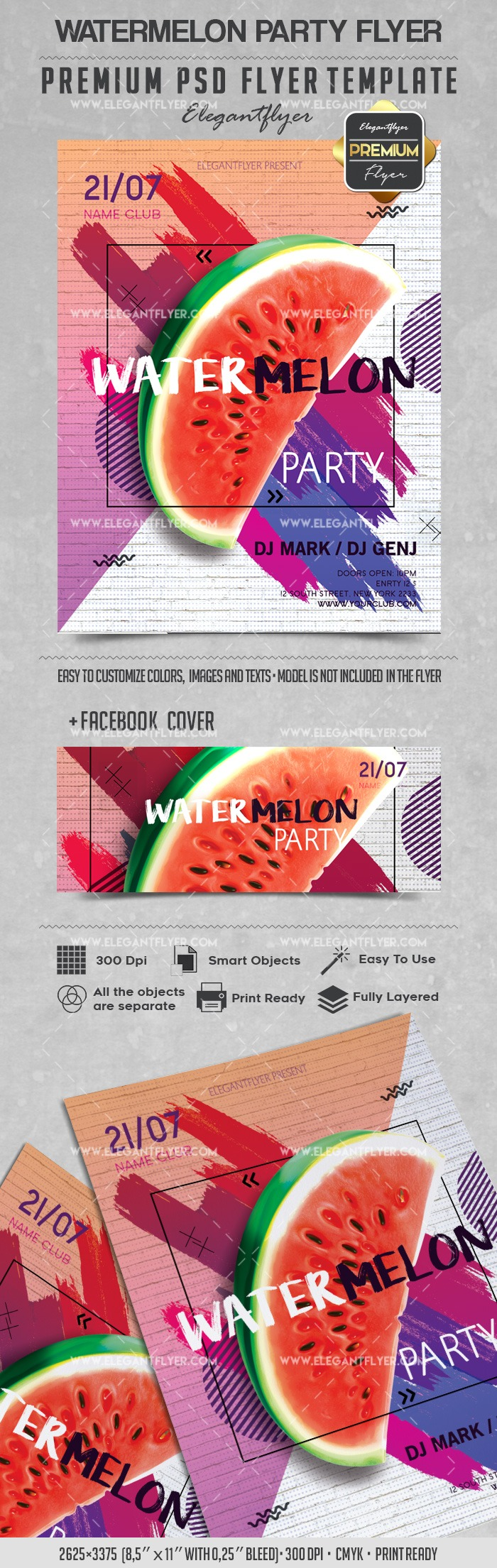 Watermelon Party – Flyer PSD Template