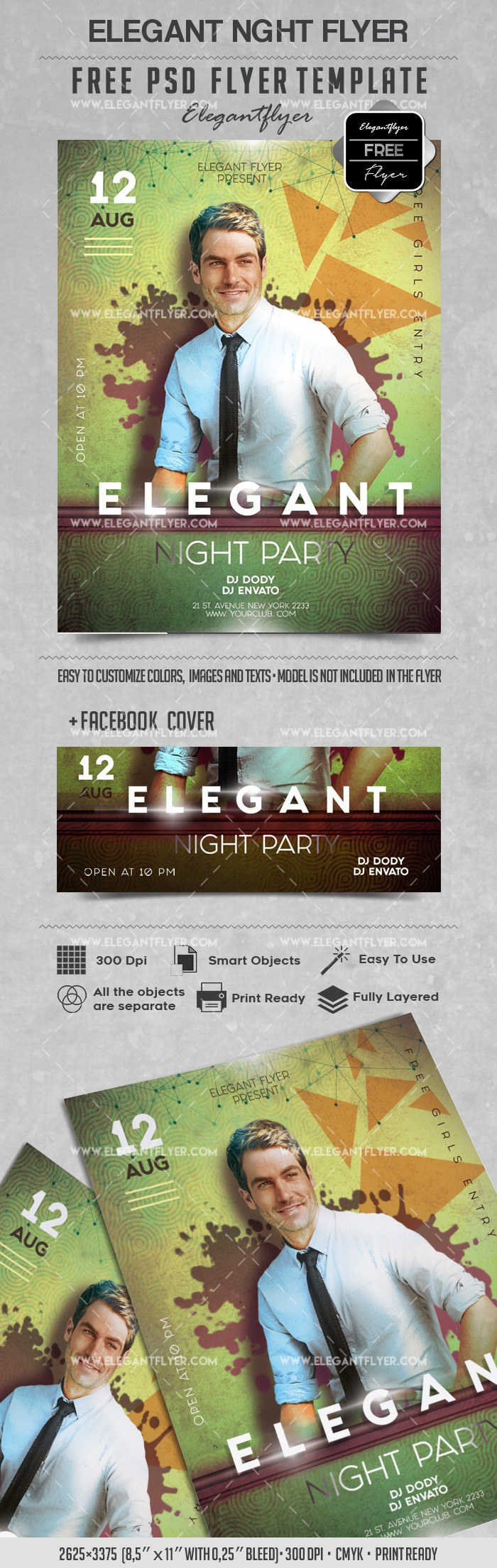 Elegant Night Party – Free Flyer PSD Template