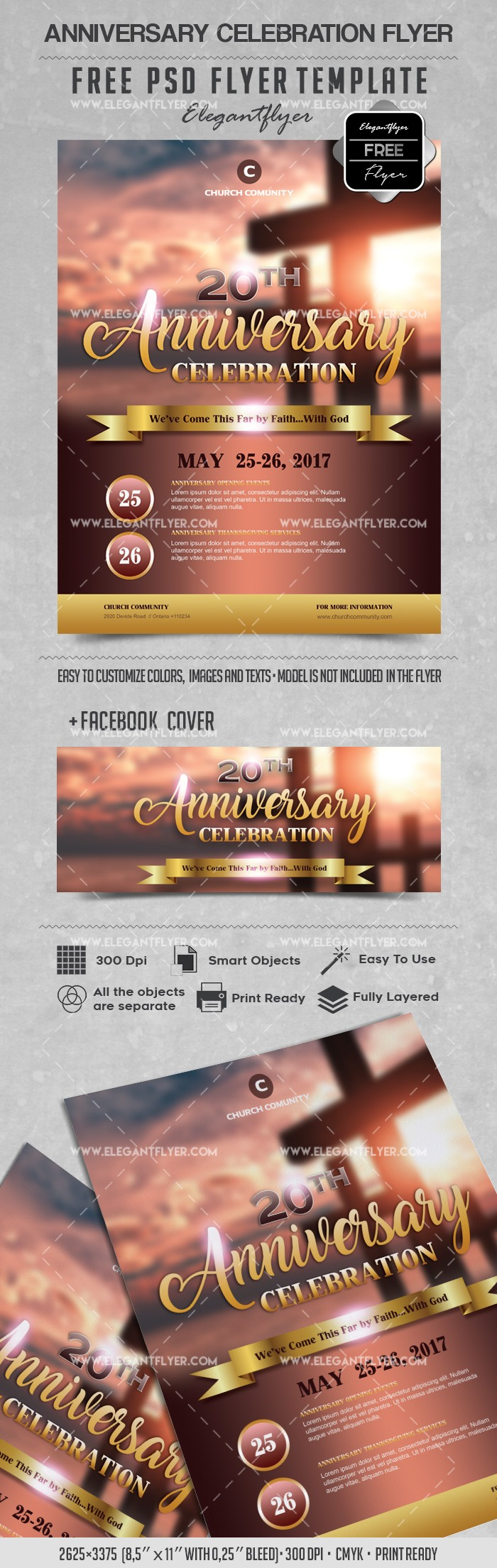 Anniversary Celebration – Free PSD Flyers Template