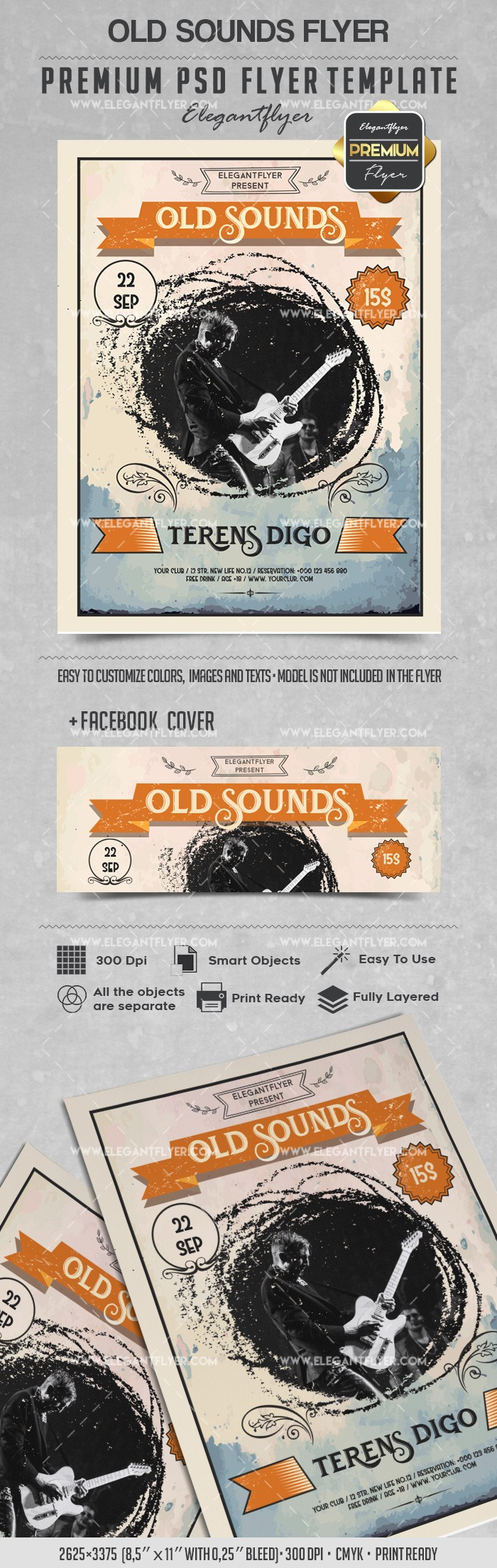 Old Sounds – Flyer PSD Template + Facebook Cover