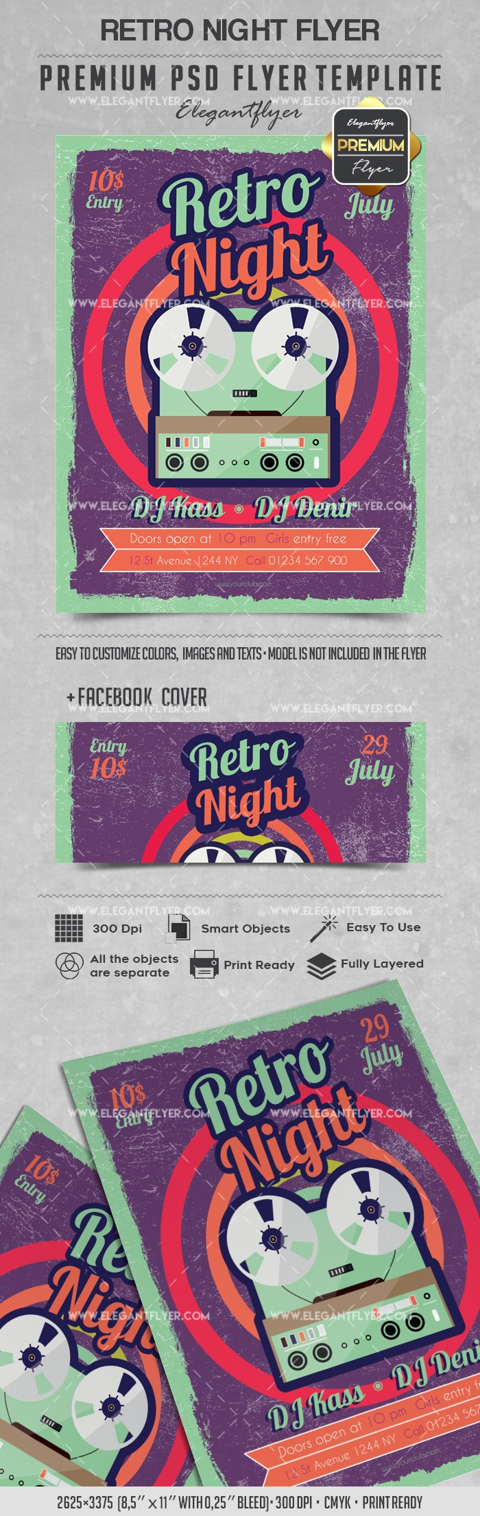 Flyer for Retro Night Party Theme