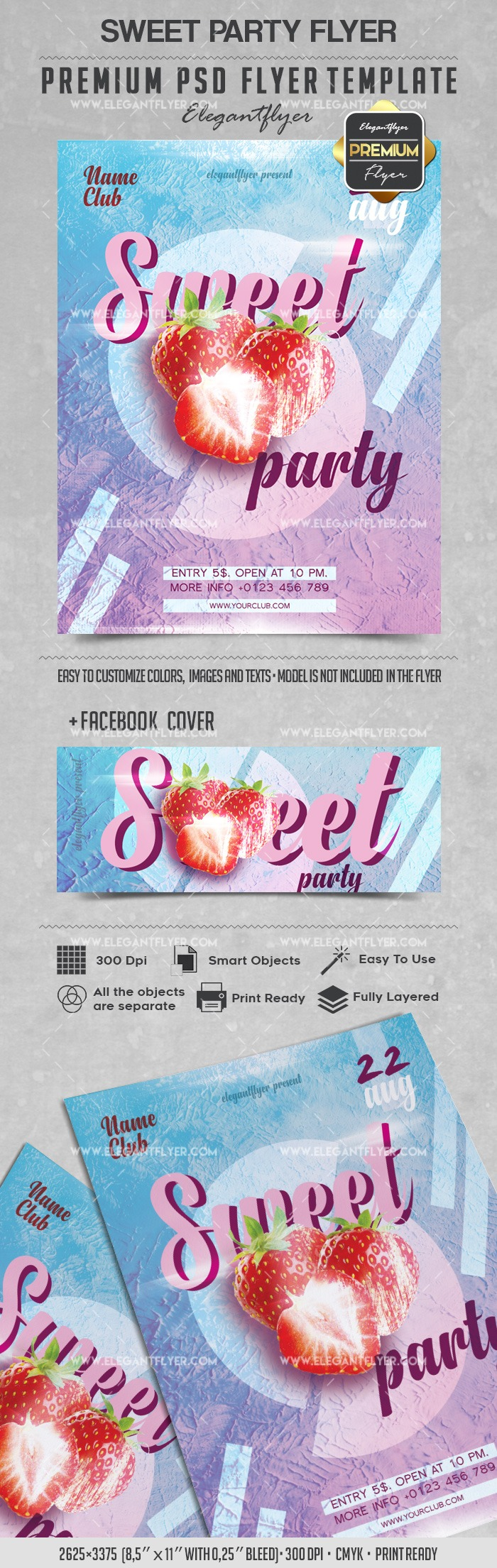Sweet Strawberrys Party PSD Template
