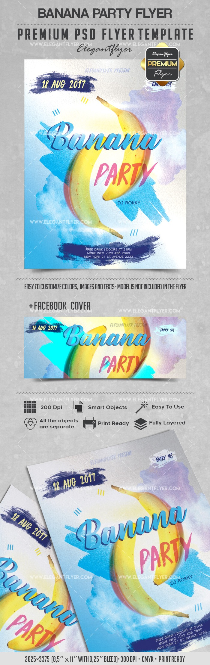Banana Party – Flyer PSD Template + Facebook Cover