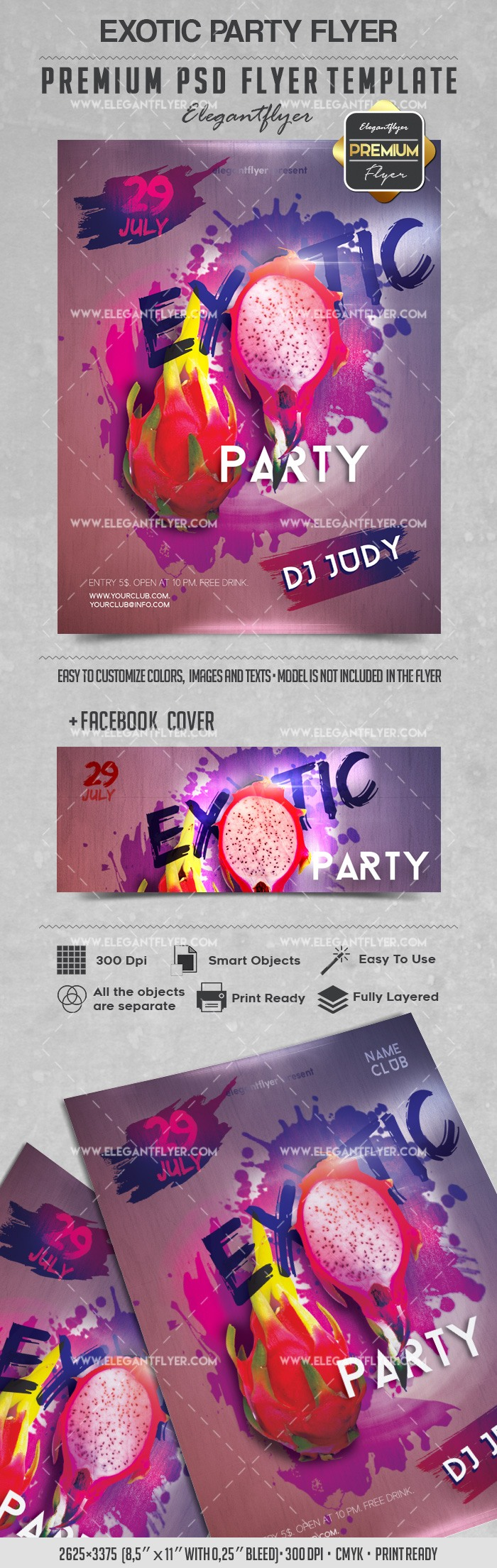 Exotic Party – Flyer PSD Template + Facebook Cover