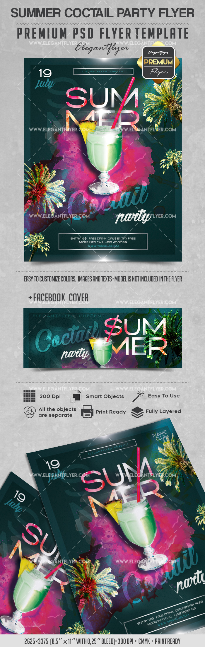 Summer Coctail Party – Flyer PSD Template