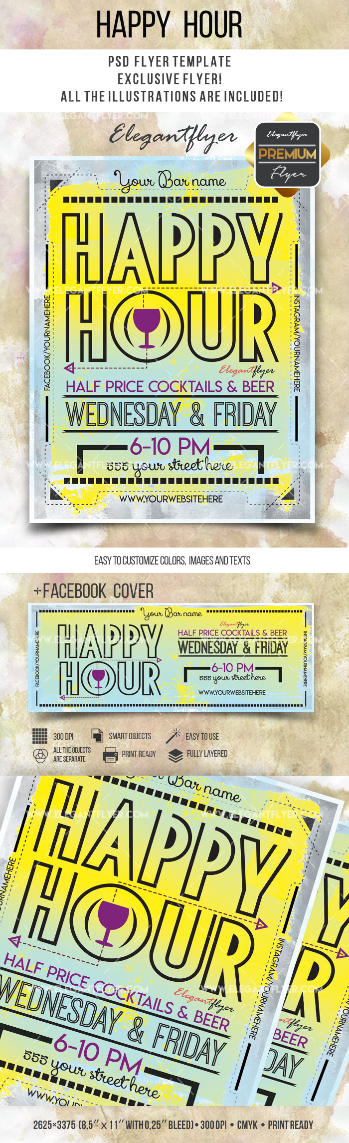 Cocktails Happy Hour Flyer