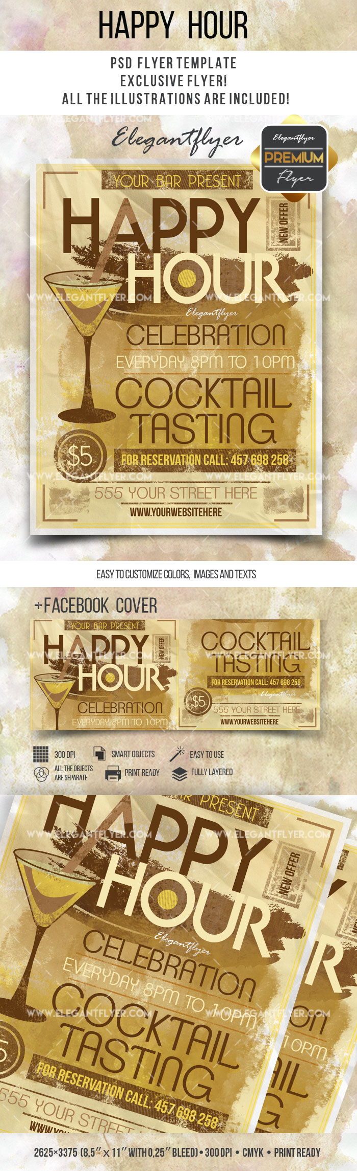 Flyer Template for Happy Hour Cocktails