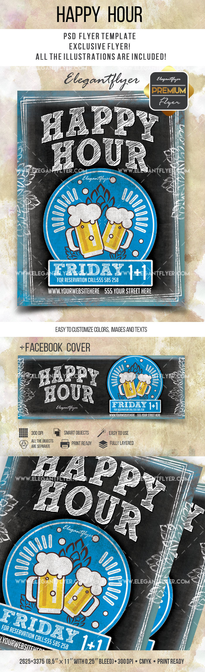 Happy Hour- Flyer PSD Template + Facebook Cover