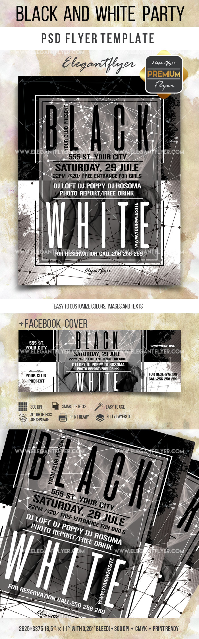 Flyer Template For Black And White Theme Party By ElegantFlyer - Black and white flyer template free