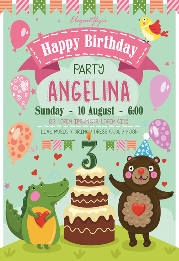 Happy Birthday Party- Flyer PSD Template