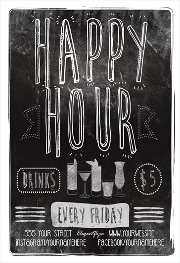 Happy Hour Flyer Free PSD Template