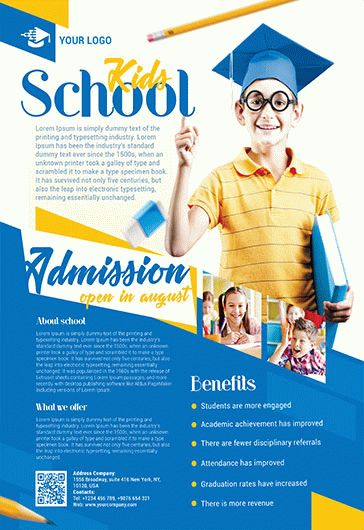 School  Free Psd TriFold Psd Brochure Template  By Elegantflyer