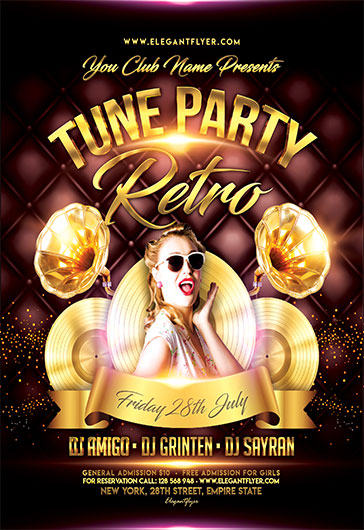 Retro Tune Party – Flyer PSD Template
