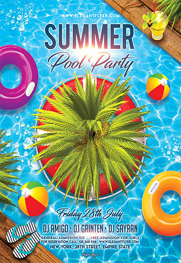 Great Summer Pool Party V02 U2013 Flyer PSD Template + Facebook Cover U2013 By  ElegantFlyer
