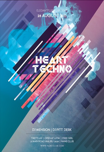Heart Techno – Flyer PSD Template