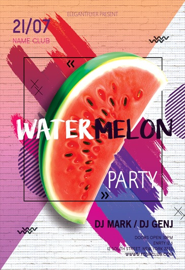 watermelon party  u2013 flyer psd template  u2013 by elegantflyer