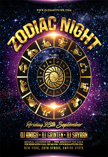 Zodiac Night – Flyer PSD Template