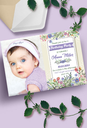 Baby Birthday Party – Invitation PSD Template